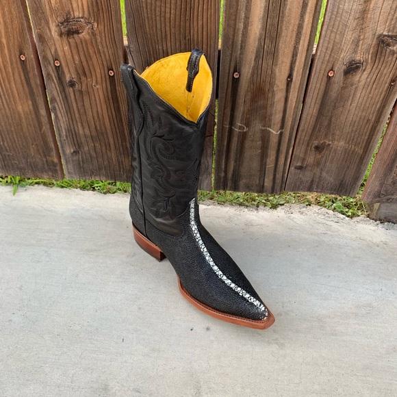 67a0f3d5220 Men's Stingray western Boots Print Leather Black Boutique